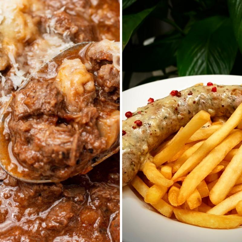 【2人肉多套餐】傳統紅酒燉牛肉+手工白酒腸薯條