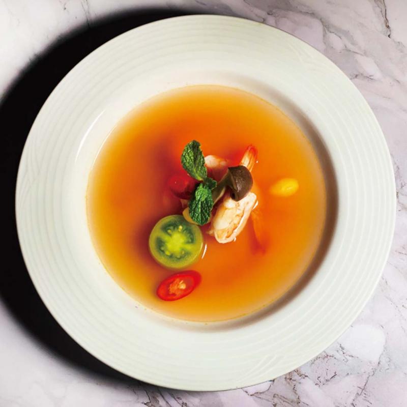 地中海香辣鮮蝦番茄清湯 / Crevettes au bouillon de tomates Prawns in Spicy Tomato Broth