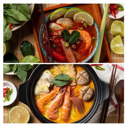 異國風味雙湯底組+辣肉醬體驗包 / 鮮蝦魚片組
